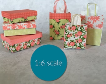 Miniature Shabby Chic style boxes and shopping bags 1:6 SCALE (downloadable, DIY)