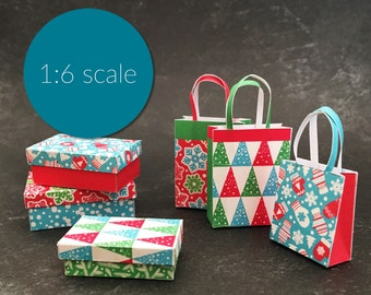 Miniature Christmas Retro Boxes and Shopping Bags 1:6 SCALE (downloadable, DIY)