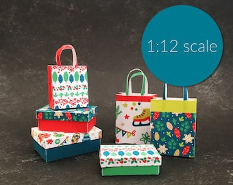 Dollhouse Miniature Christmas Modern Boxes and Shopping bags (downloadable, DIY)