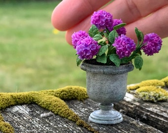 OOAK Dollhouse Miniature Purple Hydrangea in Urn Planter