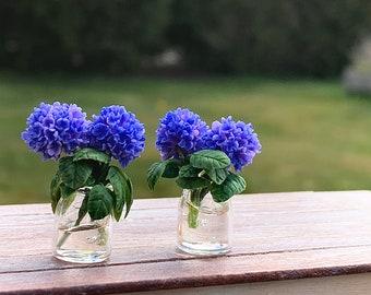 OOAK Dollhouse Miniature Hydrangea in Glass Jar