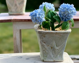 OOAK Dollhouse Miniature Light Blue Hydrangea in Terra-cotta Planter