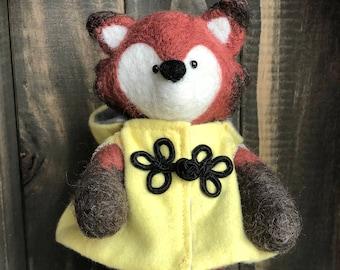 Needle felted fox doll, Ellie Foxington, OOAK, Ready to Ship