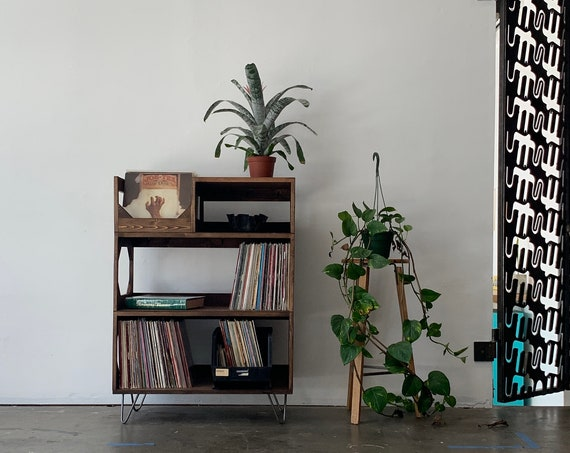 The Hamilton Turntable Station // Solid Wood // Arrives Fully Assembled // Vinyl Record Storage // Record Player Stand // Record display //