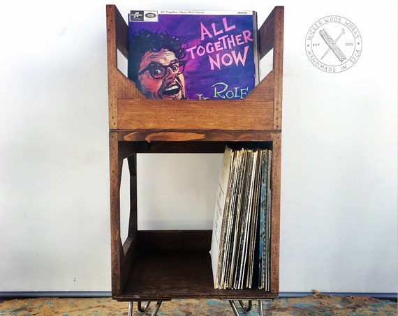 Jr. Deluxe On Hairpin Legs // Display Your Collection of 120+ Records// Solid Wood, No Assembly Required // Solid Kallax Alternative: