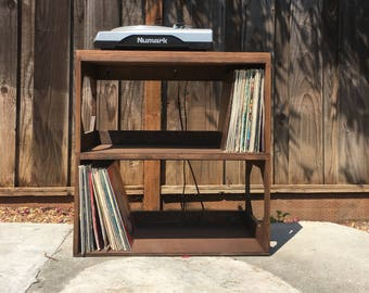 Two Row Vinyl Record Storage Shelf // Display // Protect // Enjoy // your collection of 12 vinyl records  SOLID WOOD
