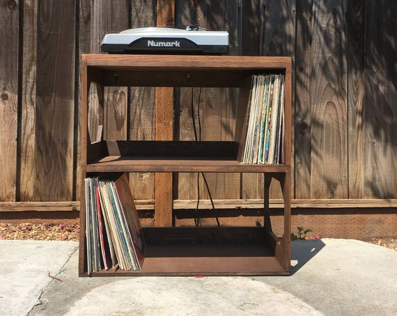 Two Row Vinyl Record Storage Shelf // Display // Protect // Enjoy your collection of 12 vinyl records // Record Player Stand // A Kallax alt