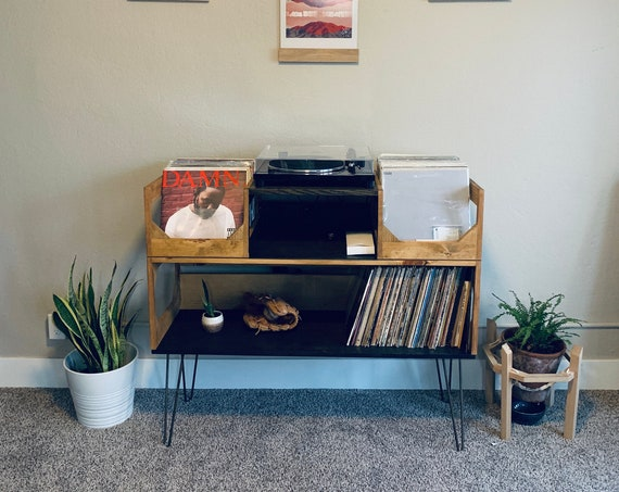 Deluxe Vinyl Display Turn Table Station With Bookshelf Style Storage // Enjoy your Collection of  500 Records // Stylish Kallax Alternative