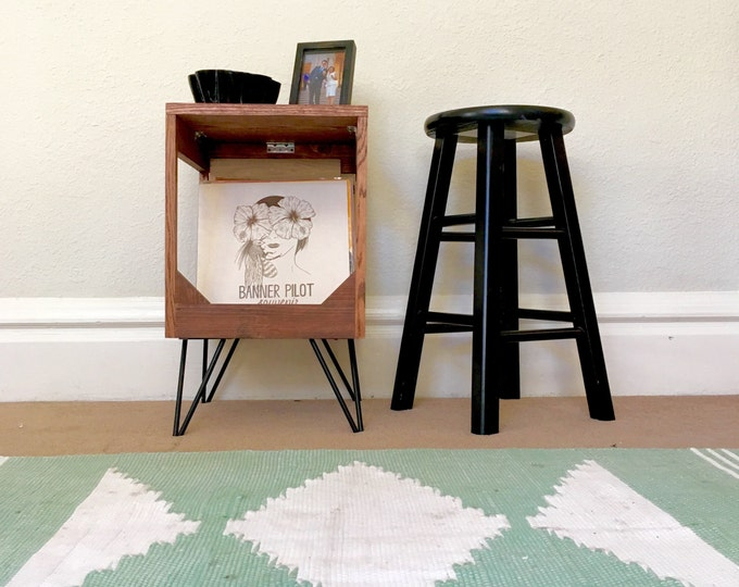 "Vinyl Record Display End Table // Practical Way to Display and Protect Your Collection of up to 80 12"" Vinyl Records // 100% handmade"