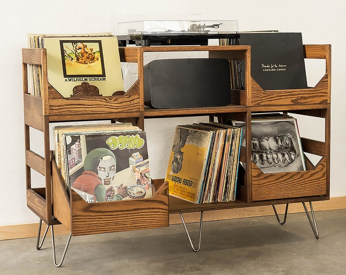 "For Easy Listening with Soft Close Drawers: Solid wood 12"" Vinyl Record Storage and Turntable Station that Arrives Fully Assembled"