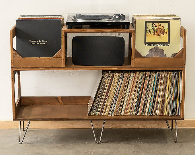 The Irving Turntable Station: Bookshelf Style Vinyl Record Storage
