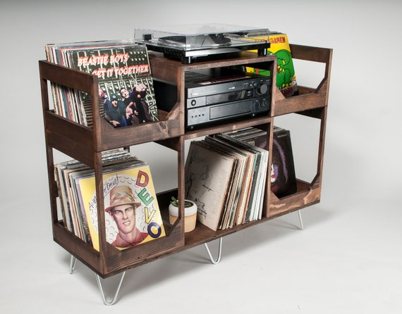 Deluxe Vinyl Storage Record Player Stand  // Conveniently  enjoy your Collection of over to 400 Records // A Stylish Kallax Alternative