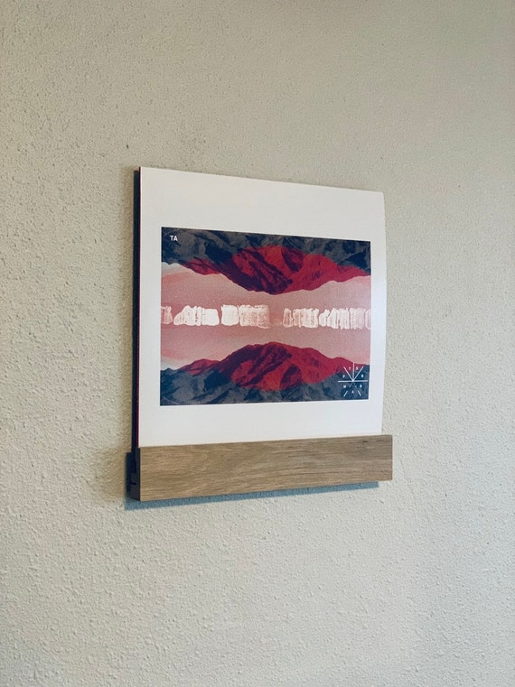 Three Pack Oak Wall Mount Vinyl Record Sleeve Display // handmade in Portland Oregon // Comes in a Pack Of 3 // 7inch or 45 rpm display opti