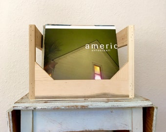 """Unstained Cube // Holds up to Eighty 12"""" Vinyl Records // Takes up just over 1 square foot // Stylish Milk Crate Replacement"""