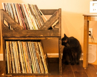 Double Decker Vinyl storage System // Holds over 200 vinyl Records with style and confidence // Hand Made to Order // Custom sizes and shape