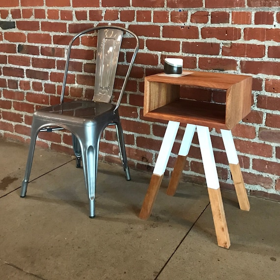 Mahogany and Steel End Table with Heath Ceramics Tile Inlay // Handmade in San Jose Ca // Free Shipping // Mid Century Modern End Table