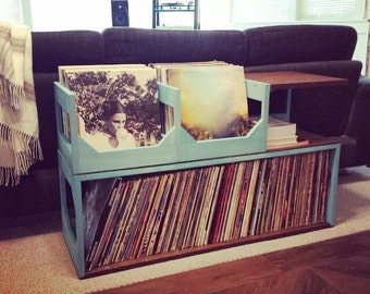 Double End Table Vinyl Storage // Stash Your Wax in style // Keep your collection of up to 300 safe and intigrated into your space