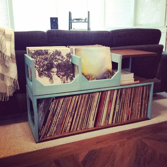 Double End Table Vinyl Storage and Record Player Stand // Stash Your Wax in style // Keep your collection of up to 300 safe