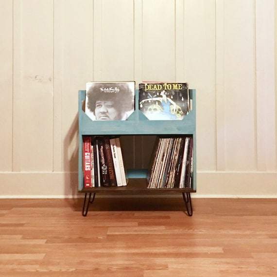 """Deluxe Vinyl Record Storage on 6"""" Hairpin Legs // Displays and Protects Your Collection of Over 200 12"""" vinyl records //  Kallax Alternative"""