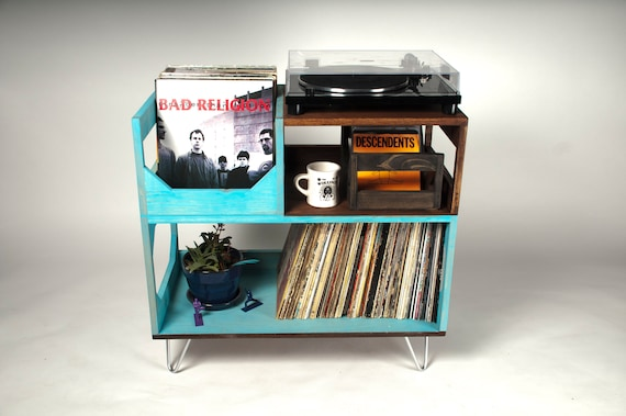 The Blackford Turntable Station // Display and Protect Your Collection of 250+ Vinyl Records // Handmade in Portland