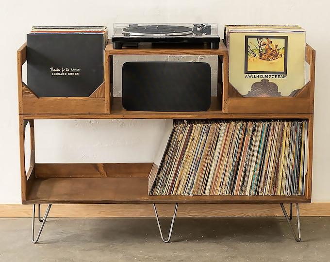 The Irving Turntable Station: Bookshelf Style Vinyl Record Storage