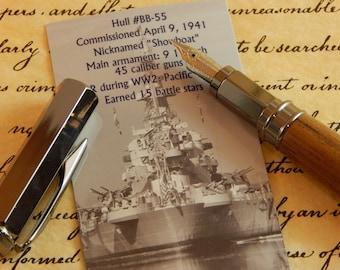Limited Edition USS North Carolina Battleship Teak Vertex Fountain Pen - Free Shipping #BS092
