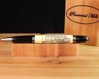 Gatsby Ballpoint Crafted from Alternative Ivory (Acrylic) with Scrimshaw Style Laser Engraving #BP00245