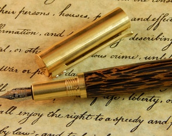 Provincial C3604 Brass Fountain Pen with Black Palm - Free Shipping #FP10302