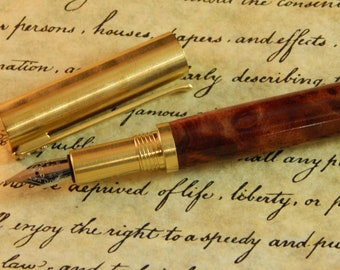 RAW C3604 Brass Fountain Pen with Redwood Burl - Free Shipping #FP10304