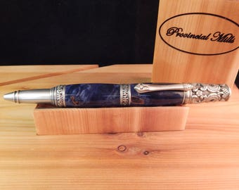 Victorian Twist Ballpoint with Buckeye Burl that was Dyed Blue #BP00371