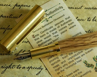 Provincial C3604 Brass Fountain Pen with Bethlehem Olive Wood  - Free Shipping #FP10308