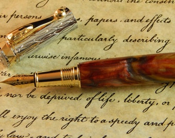 Electra Fountain Pen with Chinese Lantern Acrylic - Free Shipping #FP10276