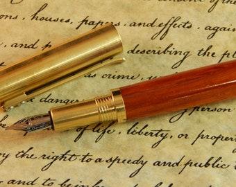 Provincial C3604 Brass Fountain Pen with Padauk - Free Shipping #FP10293