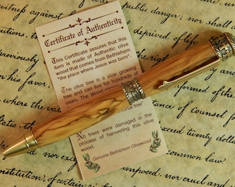 Faith Hope Love Ballpoint Pen Crafted From Bethlehem Olive wood - Free Shipping #BP00275