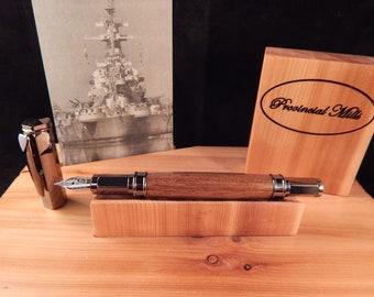 Limited Edition USS North Carolina Battleship Teak Vertex Fountain Pen  #BS092