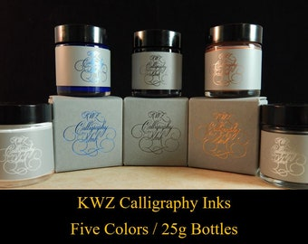 KWZ Calligraphy Ink (For Dip Pens) - Ten Colors - 25g Bottles