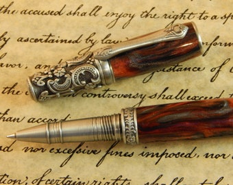 Victorian Rollerball Pen with Scarlet Fusion Acrylic - Free Shipping #RB3099