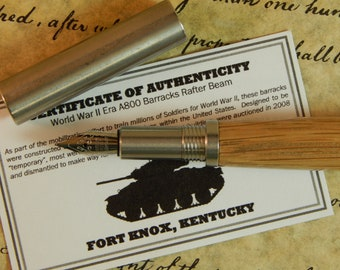 Provincial 303 Stainless Steel Fountain Pen with Wood from the A800 Barracks at Fort Knox - Free Shipping #DS502