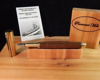 RAW C3604 Brass Fountain Pen with Limited Edition USS North Carolina Battleship Teak #BS095