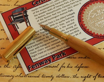 RAW C3604 brass Fountain Pen with Fenway Park Wood - Free Shipping #STW203