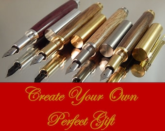 Craft Your Own *** RAW Fountain Pen - Choose Your Wood - Choose Your Fittings #FP10285
