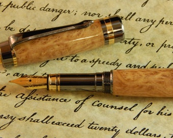 Classic Elite Fountain Pen with Brown Mallee Burl - Free Shipping #FP10147