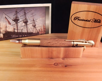 30 Caliber Bolt Action Ballpoint with Limited Edition Colonial Shipyard Wood #BP00295
