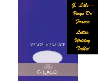 "G Lalo Straight Edge Verge de France Tablet for Letter Writing - 5 3/4 x 8 1/4"" - Four Colors to Choose From - 50 Sheets"