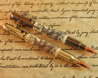 30 Caliber Bolt Action Ballpoint Crafted Alternative Ivory (Acrylic) with Scrimshaw Engraving - Free Shipping