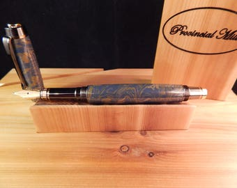 Classic Elite Fountain Pen with Lapis Mokume Metal #ME117