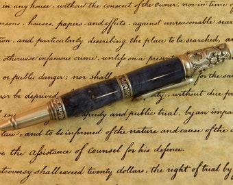 Sale *** Victorian Twist Ballpoint with Buckeye Burl that was Dyed Blue - Free Shipping #BP00371