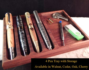4 - Pen Tray with Storage Crafted from Walunt, Oak, Cherry, or Cedar
