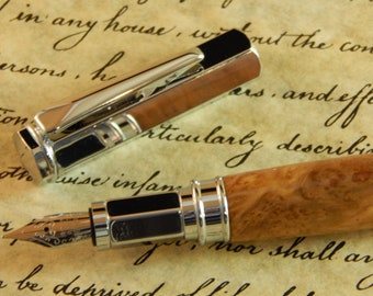 Vertex Fountain Pen with Brown Mallee Burl - Free Shipping #FP10162