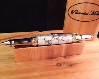Nouveau Sceptre Ballpoint with White Stone and Black Veins #BP00267
